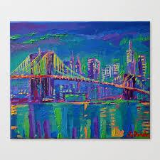 new york city night lights palette knife painting urban brooklyn bridge skyline canvas print
