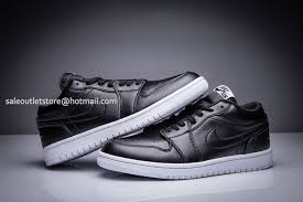 nike air jordan 1 low all black leather with white sole mens basketball shoe