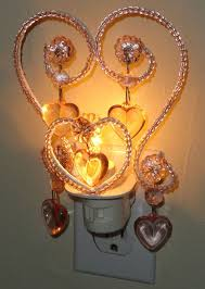 ont treasures kids glass beaded chandelier night light pink heart