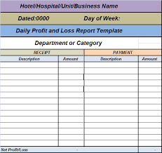 daily profit and loss daily profit loss report template free report templates