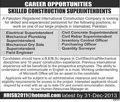 islamabad construction company job archives jhang jobs electrical superintendent job islamabad construction company job civil concrete superintendent
