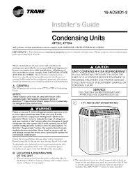 Trane Air Conditioner Heat Pump Outside Unit Manual L0904664