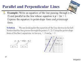 37 parallel and perpendicular lines chapter2 example write an equation of the line passing through