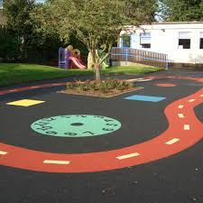 school wetpour laid with roller w16