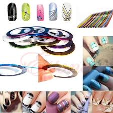 hot 004 10 color bag 20m rolls nail art uv gel tips striping tape line sticker diy decoration 00mb in stickers decals from beauty health on