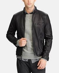 polo ralph lauren men s black leather jacket with