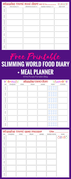 Slimming World Food Diary Printable | Meal Planner