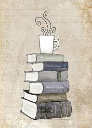 i love books and coffee print kitchen art ilration books and reading book art tea cafe art drawing book lover wall art print