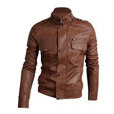 nwt premium men s slim top designed y pu leather short jacket coat brown l