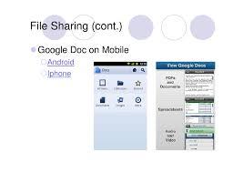 virtual office tools. File Sharing (cont.) Google Doc On Mobile Android Iphone Virtual Office Tools L