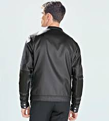 zara black embossed faux leather biker jacket zips gents authentic m l 5475 302