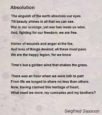 absolution poem by siegfried sassoon poem hunter