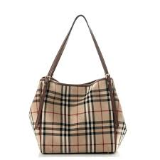 check small. BURBERRY Haymarket Check Small Canterbury Tote Dark Tan