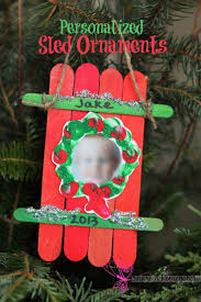 Popsicle Stick Sled Ornament With Photos Perfect Craft For Kids Preschool Christmas Crafts On Pinterest