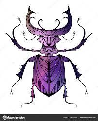 рисованной винтаж рогачи бохо шаблон космический фон насекомое