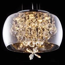 glass pendant light led with crystals victoria