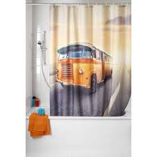 wenko vintage bus anti mildew 71x79 shower curtain
