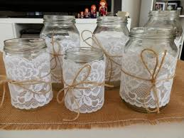 Decorated Jars For Weddings Glass Jars Lace Decorated WeddingVintageRustic Gold Coast 16