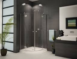 Beautiful Elegant Corner Shower Stall With Quarter Circle Glass Panel And  White Shower Pan / Showers