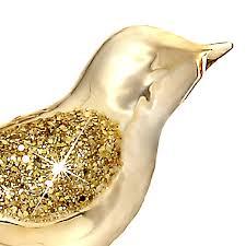 Sikora Christbaumschmuck Glas Ornament Clip Vogel Mit Federn Und Pailletten Gold 3er Set L19cm