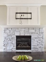 how to create a white washed stone fireplace
