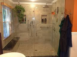 Large Walk In Shower Enclosure W Granite Bench Seating Polished With Regard  To Design 19