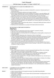 Er Technician Resume Samples Velvet Jobs