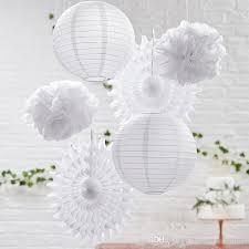 Flower Paper Lanterns 2019 White Paper Lanterns Fans Tissue Flower Balls Wedding Decoration Chinese Lamps Home Party Garden Wedding Decor From Beauties_factorys 8 45
