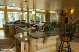 Lake House Kitchen Golden Eagle Log Homes Log Home Cabin Pictures Photos