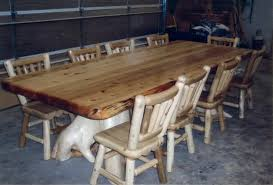 explore rustic log dining game roon table sets