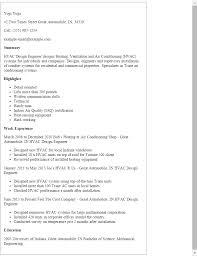 Hvac Resume Template Adorable Resumesamplesengineeringresumeshvacdesignengineer
