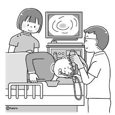 内視鏡胃カメラの検査を受ける男性のイラストモノクロ 子供と