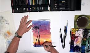 step 10 painting palm tree silhouettes