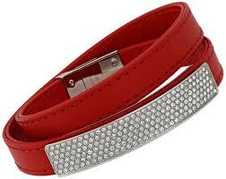 swarovski vio red leather steel crystal plaque bracelet for women 5120644
