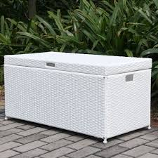 jeco white wicker patio storage deck box