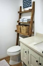 behind toilet shelf easy ladder shelf add storage without drilling holes in the wall leaning bathroom behind toilet shelf