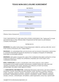 Nda Non Compete Template Free Texas Non Disclosure Agreement Nda Template Pdf Word