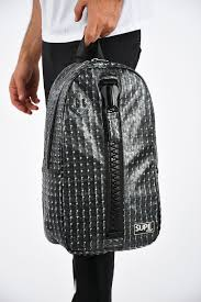 studded faux leather megazip backpack