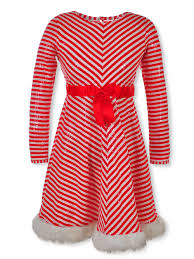Bonnie Jean Plus Size Girls Sequined Candy Cane Dress