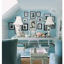 light blue white black chic home office blue white home office