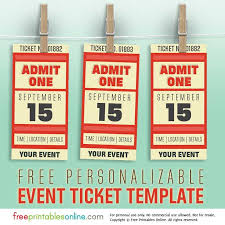 Admit One Ticket Template Free Beauteous Free Personalized Event Ticket Template Free Printables Online