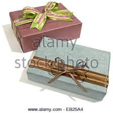 Decorative Holiday Boxes Two decorative gift boxes with ribbon close up Front view Golden 68
