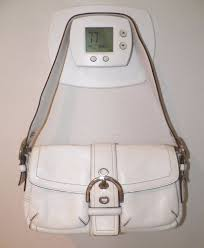 details about women s authentic coach white leather handbag purse good used