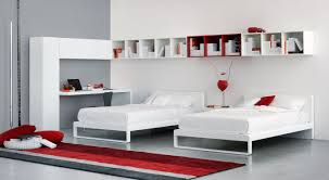 Bedroom:Creative Floating Shelves Plus Twin Bed Size In Modern Red Bedroom  Ideas Charming Modern