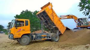 Xe ô tô tải ben DONGFENG chở và đổ cát | Nhạc thiếu nhi hay
