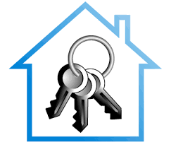 3 keys on a keyring inside a house graphic