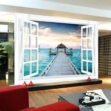 ocean wall stickers window large ocean view wall stickers art mural decal wallpaper living bedroom hallway