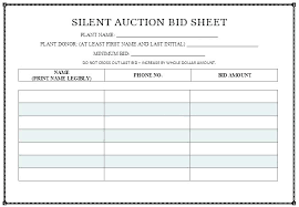Silent Auction Template Sheet Templates Free Download