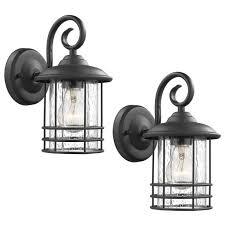 emliviar 1 light outdoor wall lantern 2 pack exterior wall lamp light in black