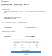 quiz worksheet symbolism in literature com print what is symbolism in literature definition types examples worksheet